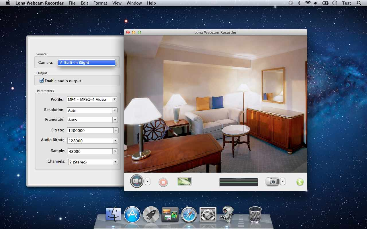Screenshot of Lona Webcam Recorder